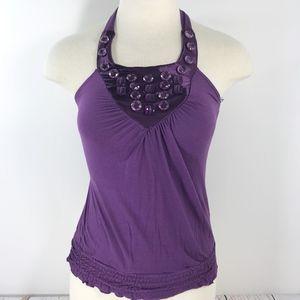 Charlotte Russe Purple Beaded Jeweled Halter Top